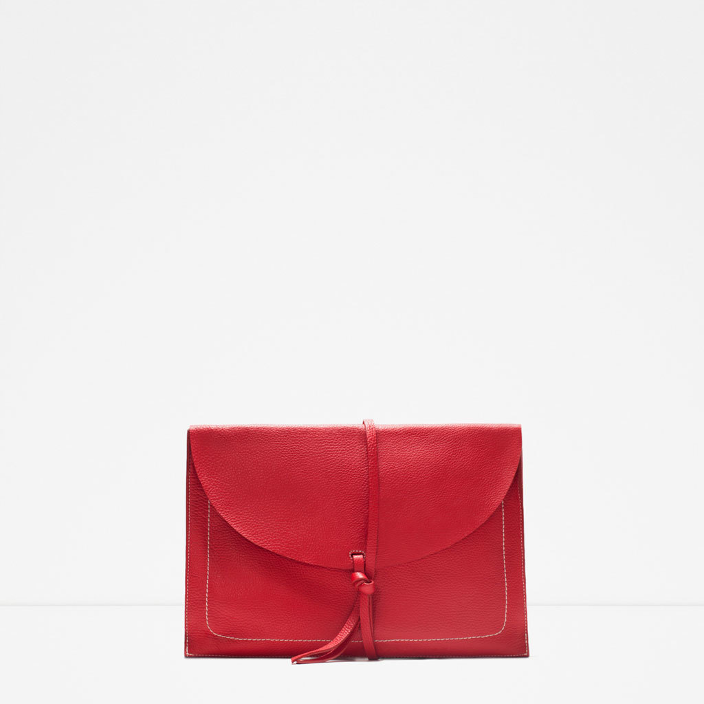 Leather Envelope Clutch - predominant colour: true red; occasions: evening, occasion, creative work; style: clutch; length: hand carry; size: small; material: leather; pattern: plain; finish: plain; season: s/s 2015; wardrobe: highlight