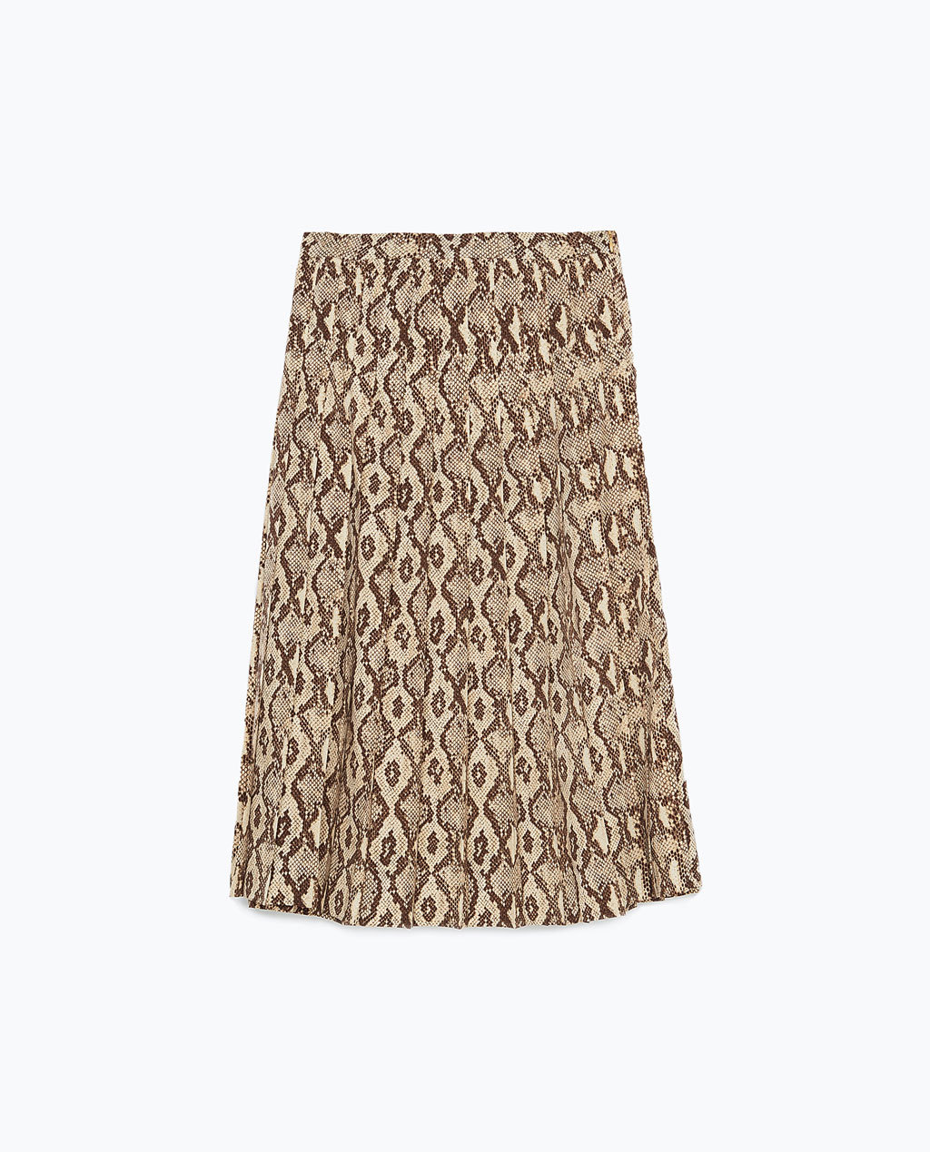 Midi Skirt - length: below the knee; fit: loose/voluminous; style: pleated; waist: mid/regular rise; predominant colour: stone; occasions: casual, creative work; pattern type: fabric; pattern: patterned/print; texture group: woven light midweight; season: s/s 2015; pattern size: standard (bottom); wardrobe: highlight