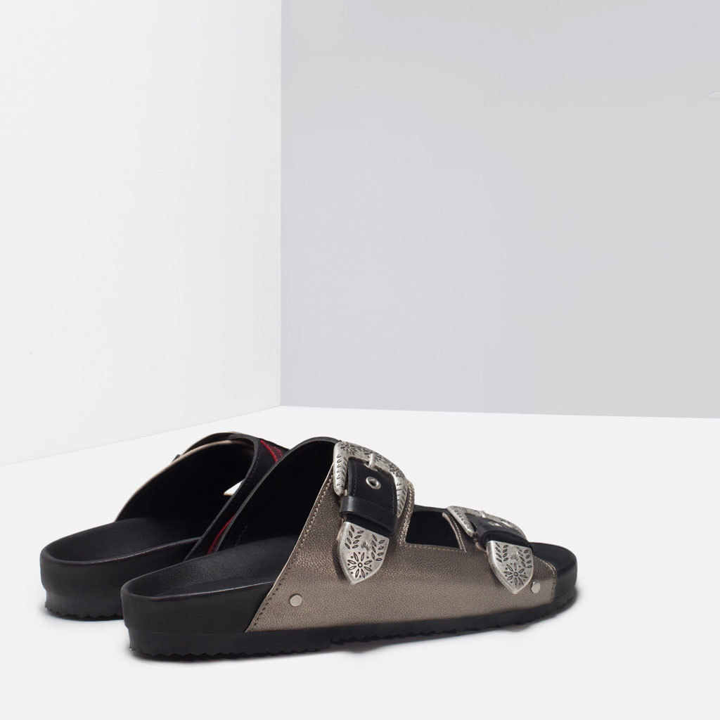 Leather Cowboy Sandals - predominant colour: black; occasions: casual, holiday; material: leather; heel height: flat; embellishment: buckles; heel: standard; toe: open toe/peeptoe; style: slides; finish: plain; pattern: patterned/print; secondary colour: pewter; season: s/s 2015; wardrobe: highlight