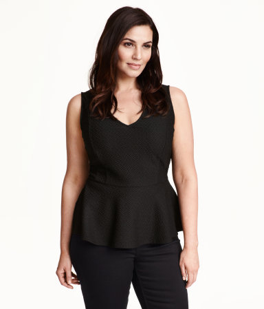 + Sleeveless Peplum Top - neckline: low v-neck; pattern: plain; sleeve style: sleeveless; waist detail: peplum waist detail; predominant colour: black; occasions: evening, creative work; length: standard; style: top; fit: tailored/fitted; sleeve length: sleeveless; pattern type: fabric; texture group: other - light to midweight; season: s/s 2015; wardrobe: basic