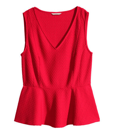 + Sleeveless Peplum Top - pattern: plain; sleeve style: sleeveless; waist detail: peplum waist detail; predominant colour: true red; occasions: evening, creative work; length: standard; style: top; fit: tailored/fitted; sleeve length: sleeveless; neckline: low square neck; pattern type: fabric; texture group: jersey - stretchy/drapey; season: s/s 2015; wardrobe: highlight