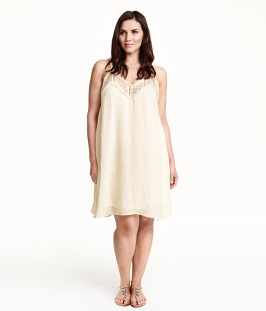 + Short Dress - neckline: v-neck; sleeve style: spaghetti straps; fit: loose; pattern: plain; predominant colour: nude; occasions: casual; length: just above the knee; style: slip dress; sleeve length: sleeveless; texture group: sheer fabrics/chiffon/organza etc.; season: s/s 2015; wardrobe: basic