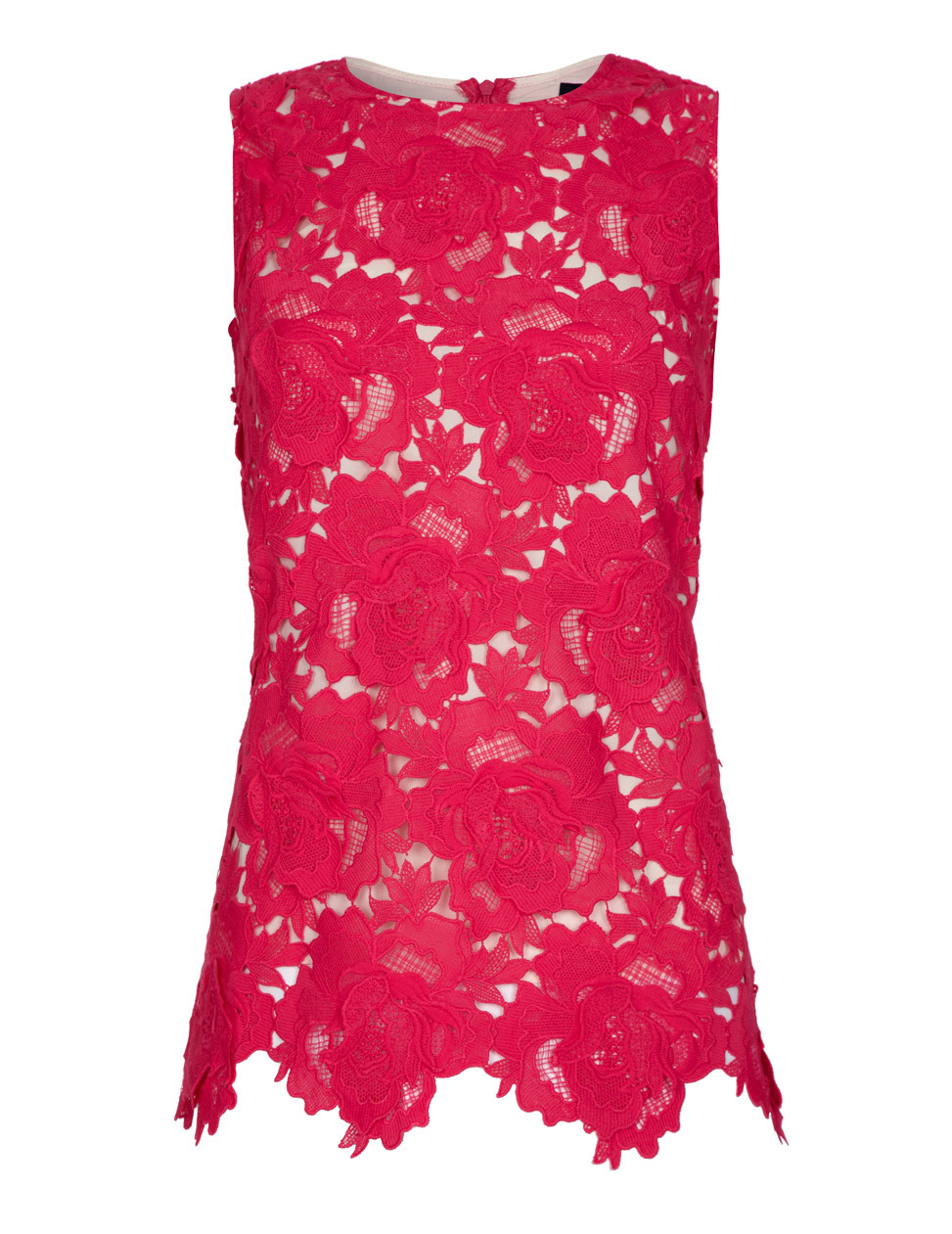 Kassy Fuschia Embroidered Crochet Sleeveless Vest Top - neckline: round neck; pattern: plain; sleeve style: sleeveless; predominant colour: hot pink; occasions: casual; length: standard; style: top; fibres: polyester/polyamide - stretch; fit: tailored/fitted; sleeve length: sleeveless; texture group: lace; pattern type: fabric; season: s/s 2015