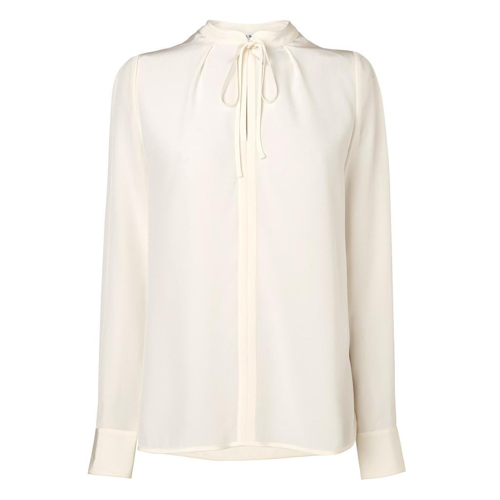 Pheobe Feminine Shirt Cream - pattern: plain; style: blouse; predominant colour: ivory/cream; occasions: evening, work, creative work; length: standard; neckline: peep hole neckline; fibres: silk - 100%; fit: body skimming; sleeve length: long sleeve; sleeve style: standard; texture group: silky - light; pattern type: fabric; season: s/s 2015