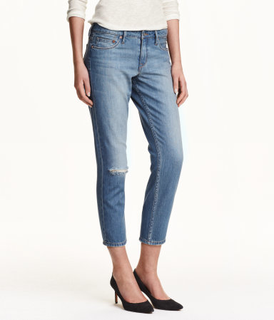 Girlfriend Cropped Jeans - style: skinny leg; pattern: plain; waist: high rise; pocket detail: traditional 5 pocket; predominant colour: denim; occasions: casual; length: calf length; fibres: cotton - stretch; jeans detail: shading down centre of thigh, washed/faded, rips; texture group: denim; pattern type: fabric; season: s/s 2015; wardrobe: basic
