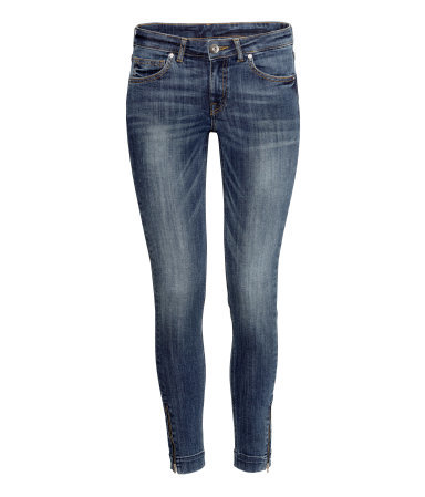 Ankle Jeans - style: skinny leg; pattern: plain; pocket detail: traditional 5 pocket; waist: mid/regular rise; predominant colour: navy; occasions: casual; length: ankle length; fibres: cotton - stretch; jeans detail: whiskering, shading down centre of thigh, washed/faded; texture group: denim; pattern type: fabric; season: s/s 2015; wardrobe: basic