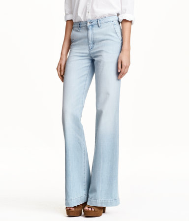 Wide High Jeans - style: flares; length: standard; pattern: plain; waist: high rise; pocket detail: pockets at the sides, traditional 5 pocket; predominant colour: pale blue; occasions: casual, creative work; fibres: cotton - stretch; texture group: denim; pattern type: fabric; season: s/s 2015; wardrobe: basic