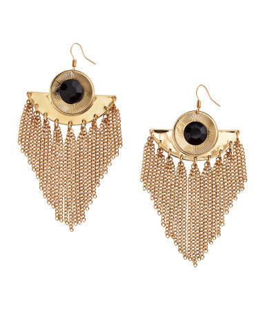 Long Earrings - predominant colour: gold; occasions: evening, occasion; style: chandelier; length: extra long; size: large/oversized; material: chain/metal; fastening: pierced; finish: metallic; embellishment: jewels/stone; season: s/s 2015; wardrobe: event