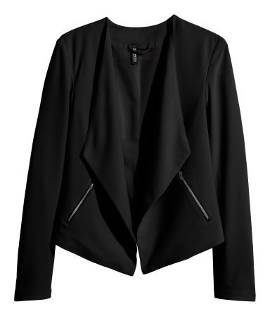 Crêpe Jacket - pattern: plain; style: single breasted blazer; collar: shawl/waterfall; predominant colour: black; occasions: casual, evening, creative work; length: standard; fit: straight cut (boxy); fibres: polyester/polyamide - 100%; sleeve length: long sleeve; sleeve style: standard; texture group: crepes; collar break: low/open; pattern type: fabric; season: s/s 2015; wardrobe: basic