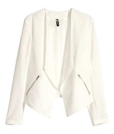Crêpe Jacket - pattern: plain; style: single breasted blazer; collar: shawl/waterfall; predominant colour: ivory/cream; occasions: casual, evening, creative work; length: standard; fit: straight cut (boxy); fibres: polyester/polyamide - 100%; sleeve length: long sleeve; sleeve style: standard; texture group: crepes; collar break: low/open; pattern type: fabric; season: s/s 2015; wardrobe: basic