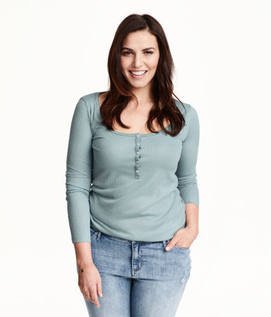 + Henley Shirt - pattern: plain; bust detail: buttons at bust (in middle at breastbone)/zip detail at bust; predominant colour: pistachio; occasions: casual, creative work; length: standard; style: top; neckline: scoop; fit: body skimming; sleeve length: long sleeve; sleeve style: standard; pattern type: fabric; texture group: jersey - stretchy/drapey; season: s/s 2015