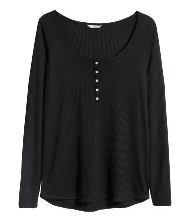 + Henley Shirt - pattern: plain; style: t-shirt; bust detail: buttons at bust (in middle at breastbone)/zip detail at bust; predominant colour: black; occasions: casual; length: standard; neckline: scoop; fibres: polyester/polyamide - mix; fit: loose; sleeve length: long sleeve; sleeve style: standard; pattern type: fabric; texture group: jersey - stretchy/drapey; season: s/s 2015; wardrobe: basic
