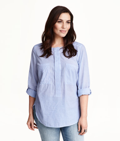 + Cotton Blouse - neckline: round neck; pattern: plain; style: blouse; secondary colour: white; predominant colour: pale blue; occasions: casual, creative work; length: standard; fibres: cotton - 100%; fit: straight cut; sleeve length: long sleeve; sleeve style: standard; texture group: cotton feel fabrics; bust detail: bulky details at bust; pattern type: fabric; pattern size: light/subtle; season: s/s 2015; wardrobe: highlight