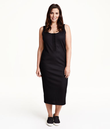 + Rib Knit Dress - style: shift; length: calf length; sleeve style: standard vest straps/shoulder straps; pattern: plain; predominant colour: black; occasions: casual, creative work; fit: body skimming; neckline: scoop; sleeve length: sleeveless; texture group: knits/crochet; pattern type: fabric; season: s/s 2015; wardrobe: basic; embellishment location: bust