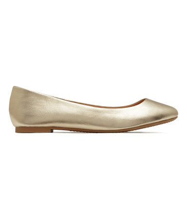 Ballet Pumps - predominant colour: gold; occasions: casual, creative work; material: faux leather; heel height: flat; toe: round toe; style: ballerinas / pumps; finish: metallic; pattern: plain; season: s/s 2015; wardrobe: basic