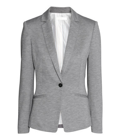 Jersey Jacket - style: single breasted blazer; collar: standard lapel/rever collar; predominant colour: mid grey; occasions: casual, creative work; length: standard; fit: tailored/fitted; sleeve length: long sleeve; sleeve style: standard; collar break: low/open; pattern type: fabric; pattern size: standard; texture group: jersey - stretchy/drapey; pattern: marl; season: s/s 2015; wardrobe: basic