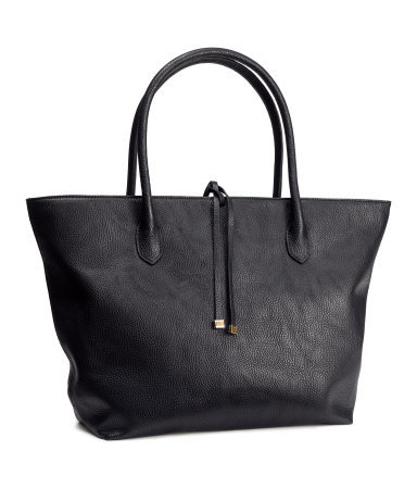 Handbag - predominant colour: black; occasions: casual, creative work; style: tote; length: handle; size: oversized; material: faux leather; pattern: plain; finish: plain; season: s/s 2015; wardrobe: investment