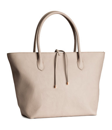 Handbag - predominant colour: nude; secondary colour: stone; occasions: casual, creative work; style: tote; length: handle; size: oversized; material: faux leather; pattern: plain; finish: plain; season: s/s 2015; wardrobe: investment
