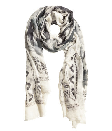 Patterned Scarf - predominant colour: ivory/cream; secondary colour: charcoal; occasions: casual; type of pattern: heavy; style: square; size: standard; material: fabric; pattern: patterned/print; season: s/s 2015; wardrobe: highlight