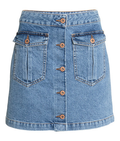 Denim Skirt - length: mini; pattern: plain; fit: loose/voluminous; waist detail: fitted waist; waist: high rise; predominant colour: denim; occasions: casual; style: a-line; fibres: cotton - stretch; hip detail: subtle/flattering hip detail; texture group: denim; pattern type: fabric; trends: alternative denim; season: s/s 2015; wardrobe: basic