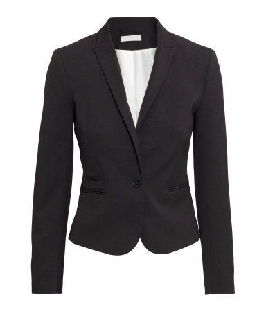 Figure Fit Jacket - pattern: plain; style: single breasted tuxedo; collar: standard lapel/rever collar; predominant colour: black; occasions: work, creative work; length: standard; fit: tailored/fitted; fibres: polyester/polyamide - stretch; sleeve length: long sleeve; sleeve style: standard; collar break: medium; pattern type: fabric; texture group: other - light to midweight; season: s/s 2015; wardrobe: investment