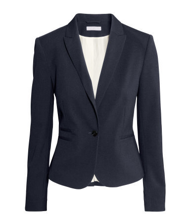 Figure Fit Jacket - pattern: plain; style: single breasted blazer; collar: standard lapel/rever collar; predominant colour: navy; occasions: work, creative work; length: standard; fit: tailored/fitted; fibres: polyester/polyamide - mix; sleeve length: long sleeve; sleeve style: standard; collar break: medium; pattern type: fabric; texture group: other - light to midweight; season: s/s 2015