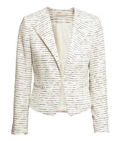 Jacket In A Textured Weave - style: single breasted blazer; collar: standard lapel/rever collar; pattern: herringbone/tweed; predominant colour: ivory/cream; length: standard; fit: tailored/fitted; sleeve length: long sleeve; sleeve style: standard; collar break: low/open; pattern type: fabric; texture group: woven light midweight; occasions: creative work; trends: chalky neutrals; season: s/s 2015; wardrobe: investment