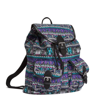 Patterned Backpack - secondary colour: purple; predominant colour: navy; occasions: casual; type of pattern: heavy; style: rucksack; length: rucksack; size: standard; material: fabric; finish: plain; pattern: patterned/print; season: s/s 2015; wardrobe: highlight