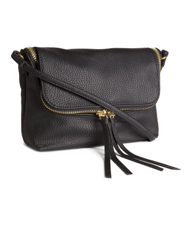 Small Shoulder Bag - predominant colour: black; occasions: casual, work, creative work; type of pattern: standard; style: messenger; length: across body/long; size: small; material: faux leather; pattern: plain; finish: plain; season: s/s 2015; wardrobe: basic