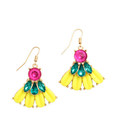 Large Earrings - predominant colour: yellow; secondary colour: emerald green; occasions: evening, occasion; style: drop; length: mid; size: large/oversized; material: chain/metal; fastening: pierced; finish: metallic; embellishment: jewels/stone; season: s/s 2015; multicoloured: multicoloured