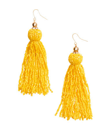 Long Earrings - predominant colour: yellow; occasions: evening, occasion, creative work; style: drop; length: long; size: large/oversized; material: chain/metal; fastening: pierced; finish: metallic; embellishment: beading; season: s/s 2015