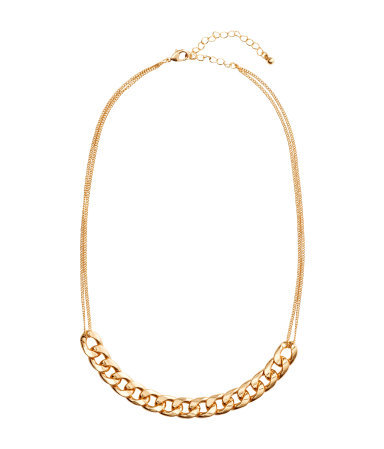 Short Necklace - predominant colour: gold; occasions: casual, evening, occasion; length: mid; size: standard; material: chain/metal; finish: metallic; season: s/s 2015; style: chain (no pendant)