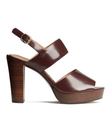 Leather Sandals - predominant colour: chocolate brown; material: leather; ankle detail: ankle strap; heel: block; toe: open toe/peeptoe; style: strappy; finish: plain; pattern: plain; heel height: very high; occasions: creative work; shoe detail: platform; season: s/s 2015
