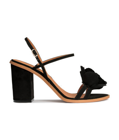 Sandals - predominant colour: black; occasions: evening, occasion; material: suede; heel height: high; ankle detail: ankle strap; heel: block; toe: open toe/peeptoe; style: strappy; finish: plain; pattern: plain; embellishment: corsage; season: s/s 2015; wardrobe: event