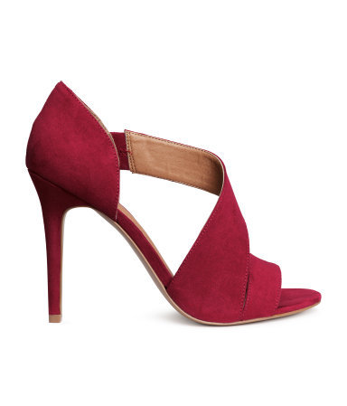 Sandals - predominant colour: hot pink; occasions: evening, occasion; material: faux leather; heel height: high; ankle detail: ankle strap; heel: stiletto; toe: open toe/peeptoe; style: strappy; finish: plain; pattern: plain; season: s/s 2015; wardrobe: event