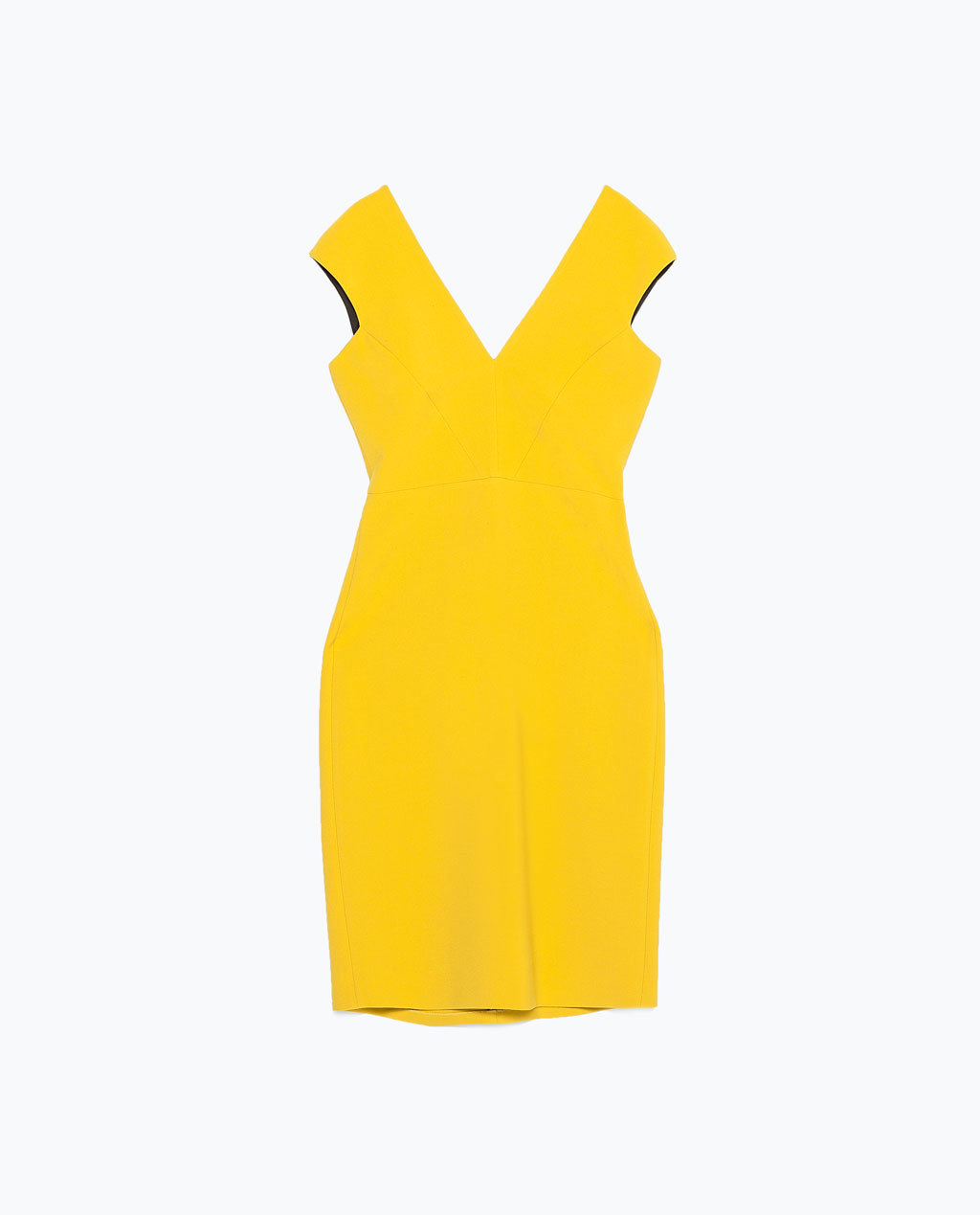 Shift Dress - style: shift; neckline: low v-neck; fit: tailored/fitted; pattern: plain; sleeve style: sleeveless; predominant colour: yellow; occasions: evening, occasion, creative work; length: just above the knee; sleeve length: sleeveless; texture group: crepes; pattern type: fabric; season: s/s 2015; wardrobe: highlight