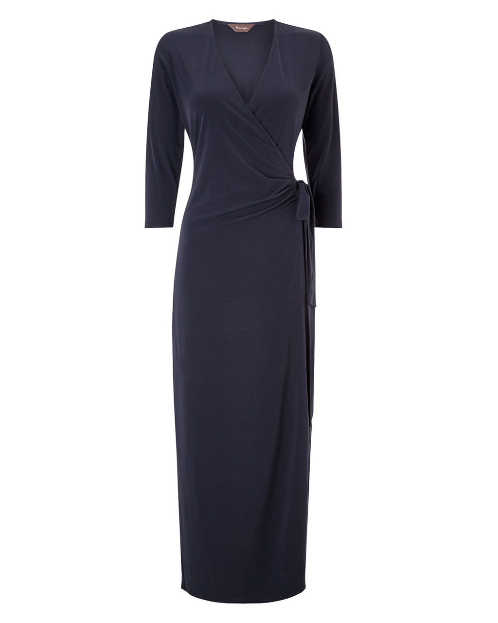 Eleri Wrap Maxi - style: faux wrap/wrap; neckline: low v-neck; pattern: plain; length: ankle length; waist detail: flattering waist detail; predominant colour: navy; fit: body skimming; occasions: occasion; sleeve length: 3/4 length; sleeve style: standard; pattern type: fabric; texture group: jersey - stretchy/drapey; season: s/s 2015; wardrobe: event