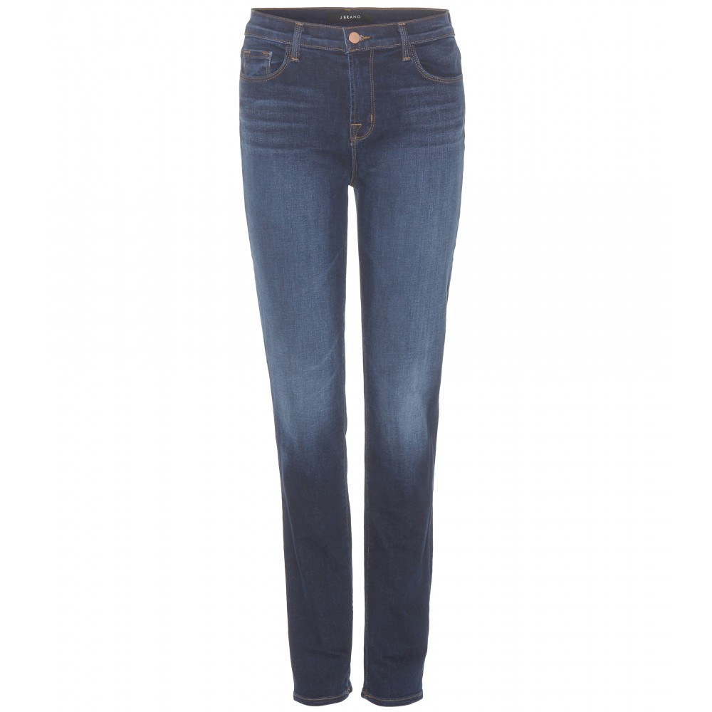 Maria High Rise Straight Jeans - style: straight leg; length: standard; pattern: plain; waist: high rise; pocket detail: traditional 5 pocket; predominant colour: navy; occasions: casual; fibres: cotton - stretch; jeans detail: whiskering, shading down centre of thigh; texture group: denim; pattern type: fabric; season: s/s 2015