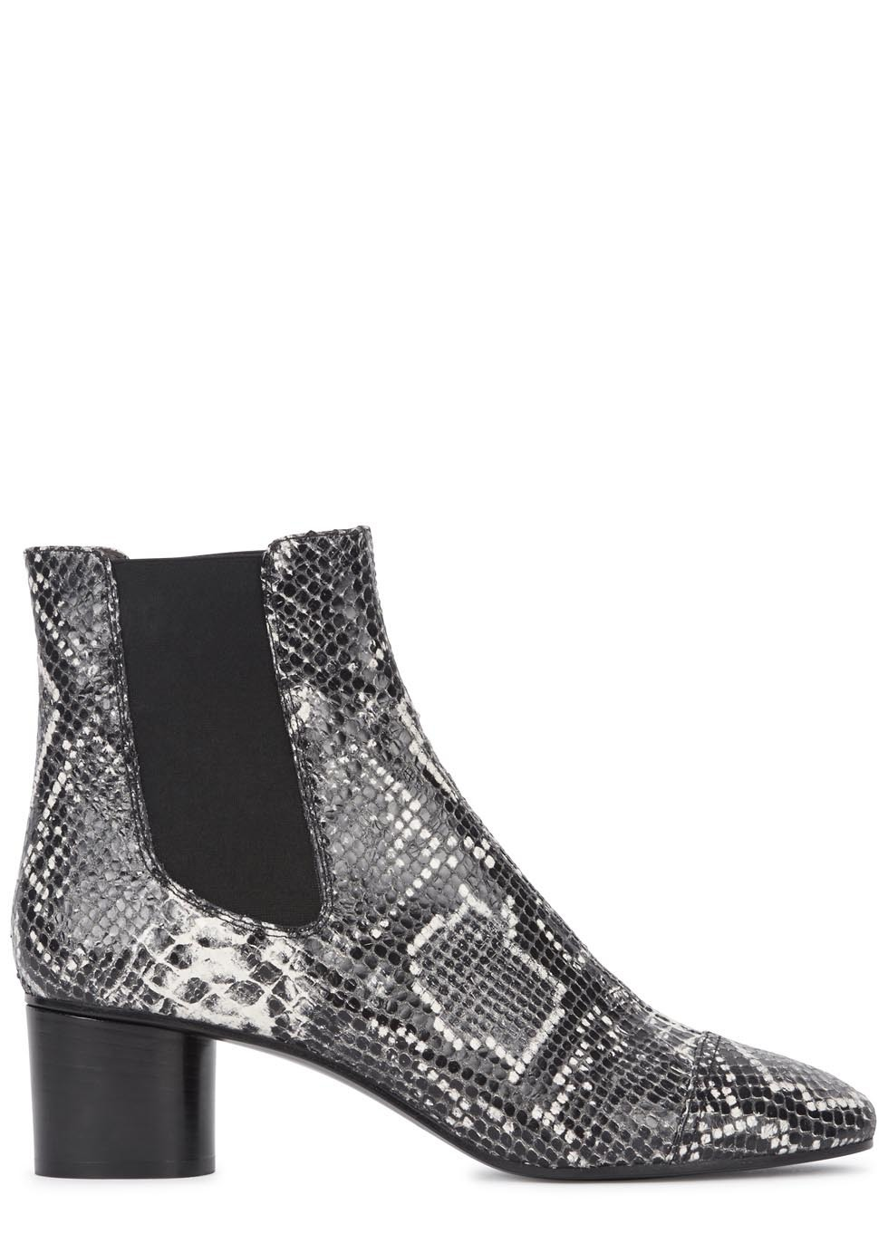 Danae Python Effect Leather Boots - secondary colour: charcoal; predominant colour: black; occasions: casual, creative work; material: leather; heel height: mid; heel: block; toe: pointed toe; boot length: ankle boot; style: standard; finish: plain; pattern: animal print; season: s/s 2015; wardrobe: highlight