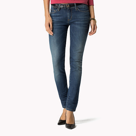 Venice Skinny Fit Jeans - style: skinny leg; length: standard; pattern: plain; pocket detail: traditional 5 pocket; waist: mid/regular rise; predominant colour: denim; occasions: casual; fibres: cotton - stretch; jeans detail: whiskering, shading down centre of thigh, washed/faded; texture group: denim; pattern type: fabric; season: s/s 2015; wardrobe: basic