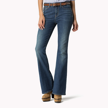 Paris Boot Cut Jeans - style: flares; length: standard; pattern: plain; pocket detail: traditional 5 pocket; waist: mid/regular rise; predominant colour: denim; occasions: casual, creative work; fibres: cotton - stretch; jeans detail: whiskering, washed/faded; texture group: denim; pattern type: fabric; season: s/s 2015; wardrobe: basic