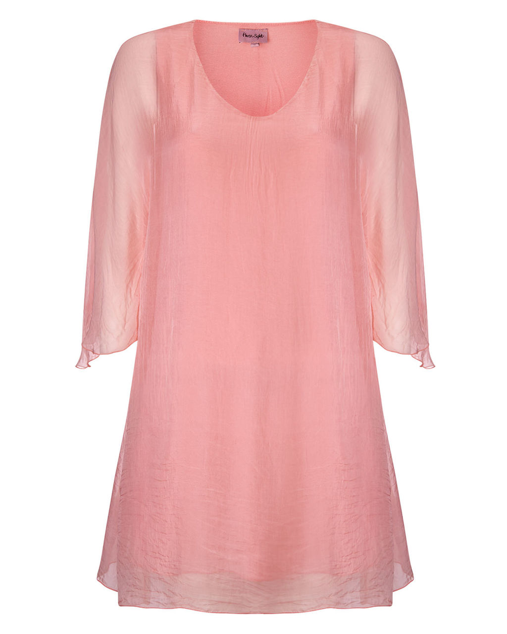 Rabia Silk Tunic - neckline: v-neck; pattern: plain; style: tunic; predominant colour: blush; occasions: casual, evening; fibres: silk - 100%; fit: loose; length: mid thigh; sleeve length: 3/4 length; sleeve style: standard; texture group: silky - light; pattern type: fabric; season: s/s 2015; wardrobe: basic