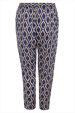 Blue Aztec Print Harem Trousers - style: harem/slouch; pocket detail: pockets at the sides; waist: mid/regular rise; predominant colour: navy; secondary colour: black; occasions: casual, creative work; length: ankle length; fibres: viscose/rayon - 100%; fit: baggy; pattern type: fabric; pattern: patterned/print; texture group: other - light to midweight; season: s/s 2015; pattern size: big & busy (bottom); wardrobe: highlight