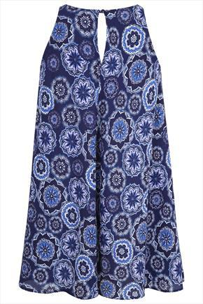 Blue Tile Print Swing Longline Top With Keyhole Detail - sleeve style: sleeveless; length: below the bottom; style: tunic; pattern: paisley; predominant colour: royal blue; secondary colour: pale blue; occasions: casual, holiday; neckline: peep hole neckline; fibres: polyester/polyamide - 100%; fit: loose; back detail: keyhole/peephole detail at back; sleeve length: sleeveless; pattern type: fabric; pattern size: standard; texture group: woven light midweight; season: s/s 2015; wardrobe: highlight