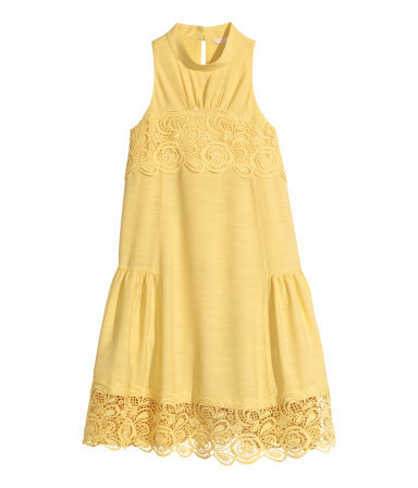 Sleeveless Dress - style: shift; length: mid thigh; pattern: plain; sleeve style: sleeveless; neckline: high neck; predominant colour: primrose yellow; occasions: casual, evening, holiday; fit: soft a-line; back detail: keyhole/peephole detail at back; sleeve length: sleeveless; pattern type: fabric; texture group: jersey - stretchy/drapey; fibres: viscose/rayon - mix; embellishment: lace; season: s/s 2015; wardrobe: highlight; embellishment location: bust, hem