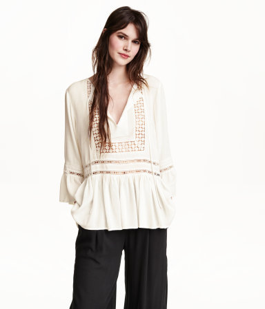 Crêpe Blouse - neckline: v-neck; pattern: plain; length: below the bottom; back detail: tie at back; style: blouse; predominant colour: ivory/cream; occasions: casual, creative work; fit: body skimming; sleeve length: 3/4 length; sleeve style: standard; texture group: crepes; pattern type: fabric; season: s/s 2015; wardrobe: basic