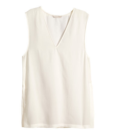 Sleeveless Silk Blouse - neckline: v-neck; pattern: plain; sleeve style: sleeveless; predominant colour: ivory/cream; length: standard; style: top; fibres: silk - 100%; fit: straight cut; sleeve length: sleeveless; texture group: silky - light; pattern type: fabric; occasions: creative work; season: s/s 2015