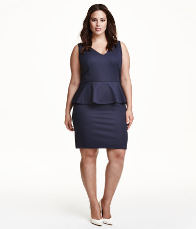 + Peplum Dress - style: shift; length: mid thigh; neckline: v-neck; fit: tailored/fitted; pattern: plain; sleeve style: sleeveless; hip detail: fitted at hip; predominant colour: navy; sleeve length: sleeveless; texture group: other - light to midweight; season: s/s 2015