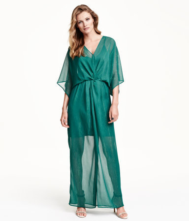 Glittery Chiffon Dress - neckline: v-neck; sleeve style: angel/waterfall; fit: fitted at waist; pattern: plain; style: maxi dress; length: ankle length; predominant colour: teal; occasions: evening, occasion; fibres: polyester/polyamide - mix; sleeve length: 3/4 length; texture group: sheer fabrics/chiffon/organza etc.; pattern type: fabric; season: s/s 2015; wardrobe: event