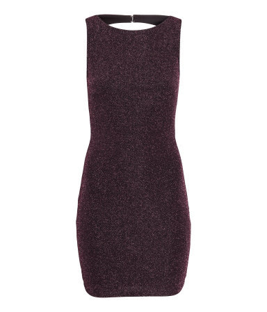 Glittery Dress - style: shift; length: mini; neckline: round neck; pattern: plain; sleeve style: sleeveless; back detail: back revealing; predominant colour: aubergine; occasions: evening, occasion; fit: body skimming; fibres: polyester/polyamide - mix; sleeve length: sleeveless; pattern type: fabric; texture group: other - light to midweight; season: s/s 2015; wardrobe: event